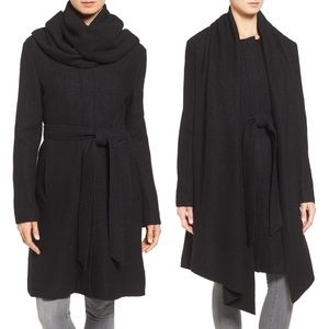 NWT Cole Haan Belted Wool Scarf Coat, Black, 4